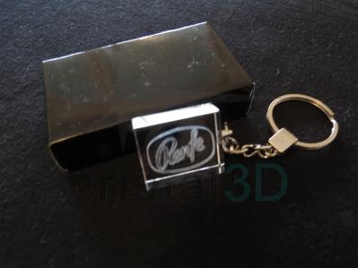 Llavero cristal: 30x24x10mm Logo Renfe 2