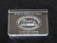 Personalización prisma 80x50x30 Associació d'Amics del Ferrocarril de les Comarques Gironines.