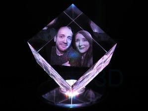 Cubo personalizado 60x60x60 truncado, foto pareja. Personalized cube 60x60x60 cut corner, photo