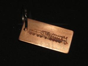 Llavero de cobre, medidas 60x30x1 Personalizado con locomotora #Mikado
