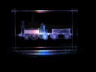 Personalización prisma 50x50x80mm en 3D. Locomotora de vapor. Customization prism 50x50x80 in 3D. Steam locomotive.