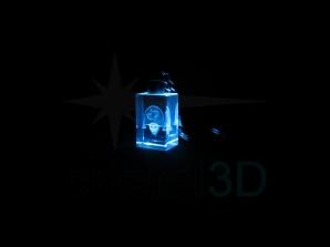 Personalización llavero con luz 20x30x15 en 3D Customiztion keyring with light 20x30x15 in 3D